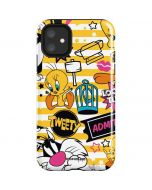 Tweety and Sylvester Striped Patches iPhone 11 Impact Case