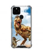 Tyrannosaurus Rex Fighting with Two Triceratops Google Pixel 5 Clear Case