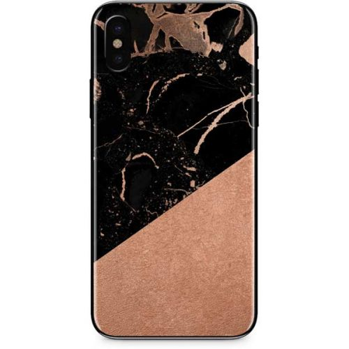 Black And Rose Gold Marble Split Iphone Xs Max Skin