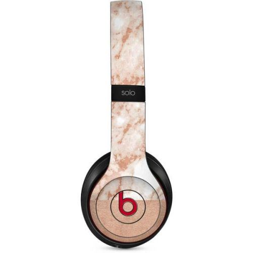White Rose Gold Marble Beats Solo 2 Wireless Skin