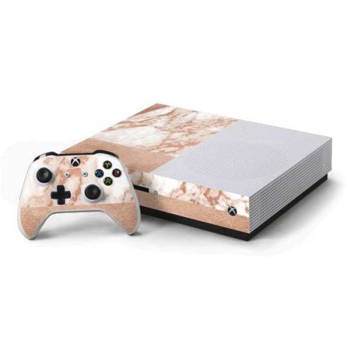 White Rose Gold Marble Xbox One S Console And Controller Bundle Skin