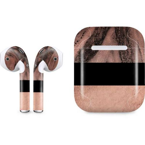 Rose Gold And Black Marble Airpods Skin