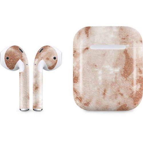 White Rose Gold Marble Airpods Skin